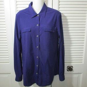 Ex Officio Purple Roll Tab Shirt Women M